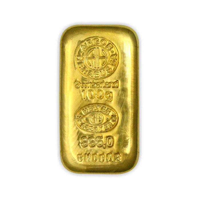 Sztabka złota lana Au999,9 Heraeus - 100g