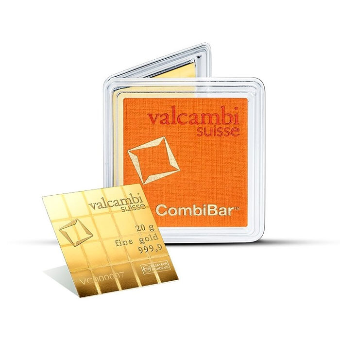 Sztabka złota Valcambi - CombiBar (Multicard) Au999.9 - 20x1g